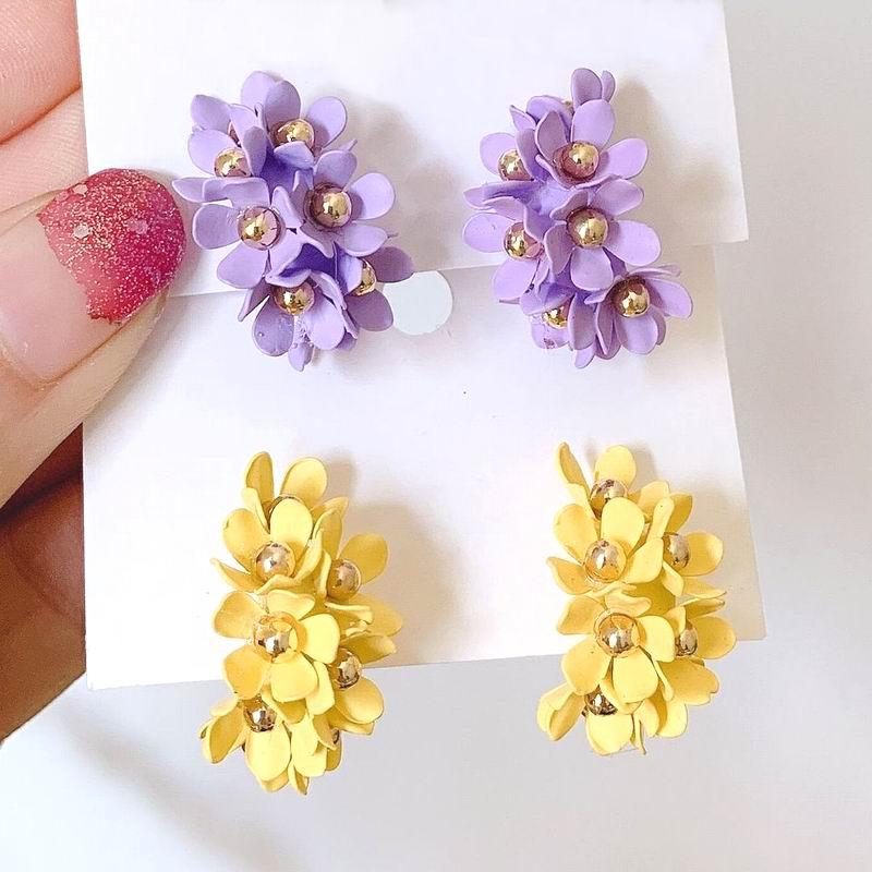 2019 New Handmade Top Flower Earrings Purple Yellow Delicate Designer pendientes mujer Party Trendy Jewelry