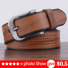 2019 NEW Retro D-shaped men's belt sewing thread pin buckle