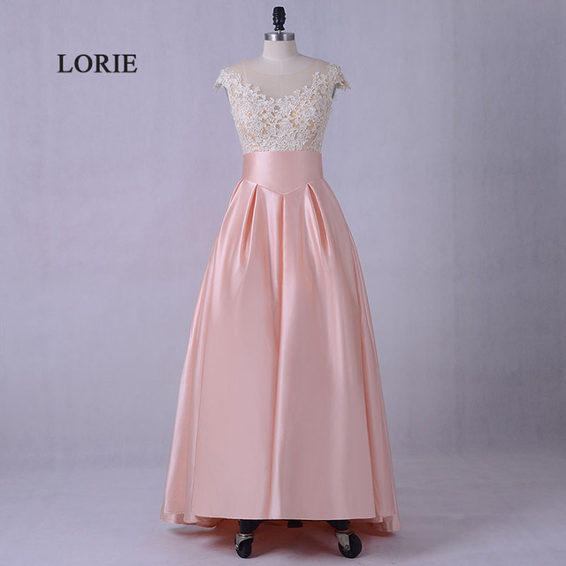LORIE Nude Pink Prom dresses 2017 O Neck A Line Satin Appliques Long ...