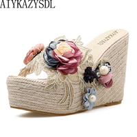 AIYKAZYSDL 2018 Ethnic Bohemia Pearl 3D Flower Sandals Lace Embroidered Clear Hemp Rope Cane Shoes Silpper Slide Mule Wedge Heel