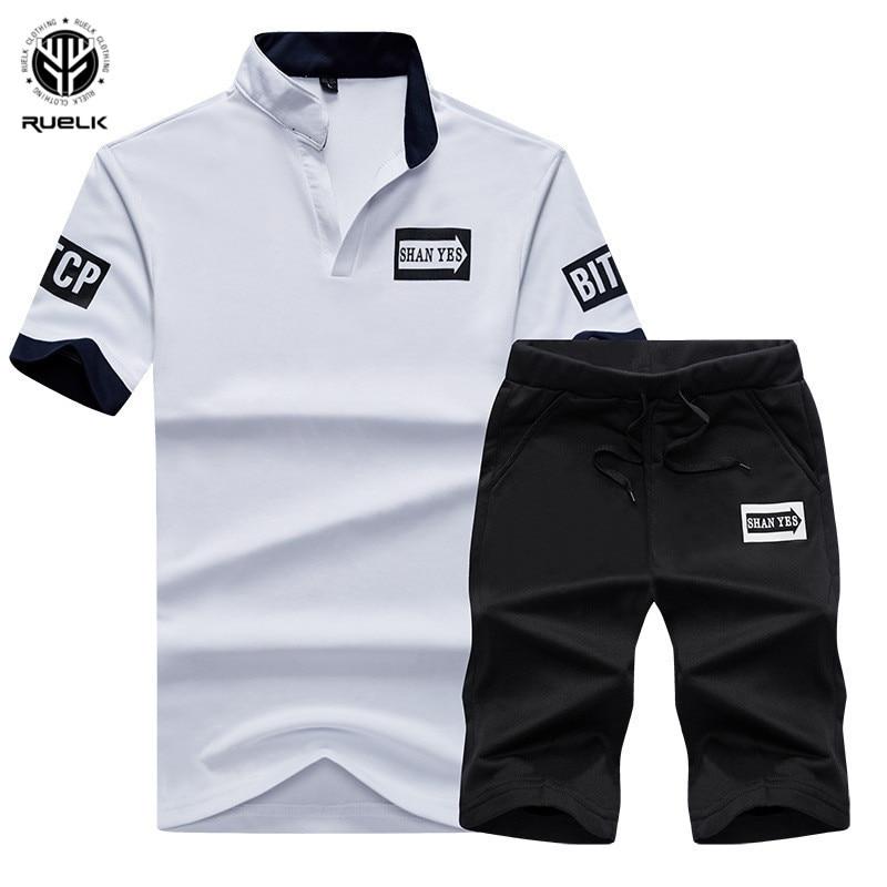 0b94dd3c Nueva moda de chándal hombres de verano de manga corta de cocodrillo Slim  traje deportivo para hombre Masculino T camisa + Pantalones cortos 2 piezas  ...