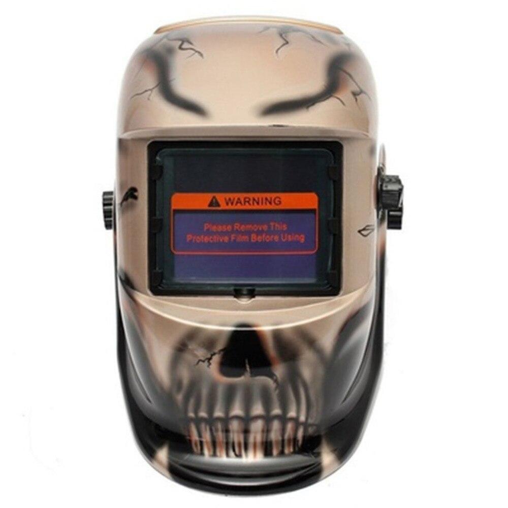 Auto Darkening Welding Helmet Skull Crack Solar Electric Welding Mask Auto Darkening Electrical Skull Mask Protective Welding цена