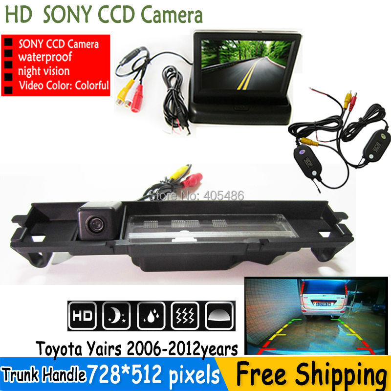 WIRELESS Reverse car SONY CCD rear view camera Backup Camera with parking lines with foldable monitor for Toyota Yaris 2006-2012