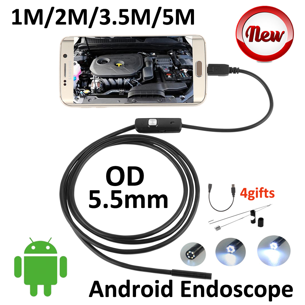 5.5mm Len Android USB Endoscope Camera 5M 3.5M 2M 1M IP67 Waterproof Snake Tube Inspection Android OTG USB Borescope Camera 6LED 7mm lens mini usb android endoscope camera waterproof snake tube 2m inspection micro usb borescope android phone endoskop camera
