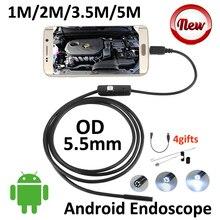 5.5mm Len Android USB Endoscope Camera 5M 3.5M 2M 1M IP67 Waterproof Snake Tube Inspection Android OTG USB Borescope Camera 6LED