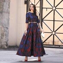 Xxxl largo dress nueva moda 2017 primavera verano mujeres jacquard impresiones de Media Manga Más El Tamaño Elegantes vestido de Bola Del Partido Femenino dress