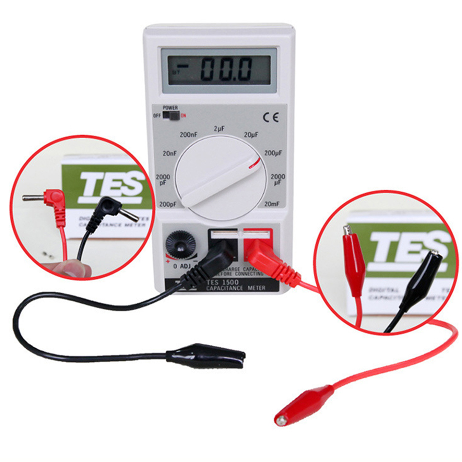 TES1500 Capacitance Tester Meter Up To 20mF 20000uF Overload Fuse Protection Clips/Direct Insert Portable Electrical Digital резистор kiwame 5w 240 ohm
