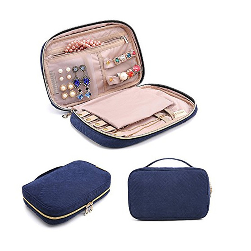 ROMAD Portable Jewelry Packaging Carrying Box Necklace Bracelet Earring Ring Watch Pouch Bag Zipper Display Travel Cases R3