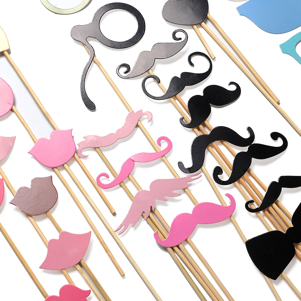 36PCS/LOT 36PCS Party Decoration New DIY Face Masks Photo Gatsby Props Mustache On A Stick Birthday XMAS Favor gift Casamento
