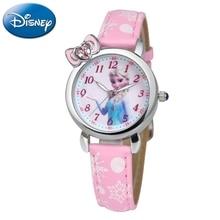 Disney Frozen Elsa Princess Cute Girls Bowknot Snowflake Leather Quartz watch Pretty student Kids Cartoon Clock Children Gift