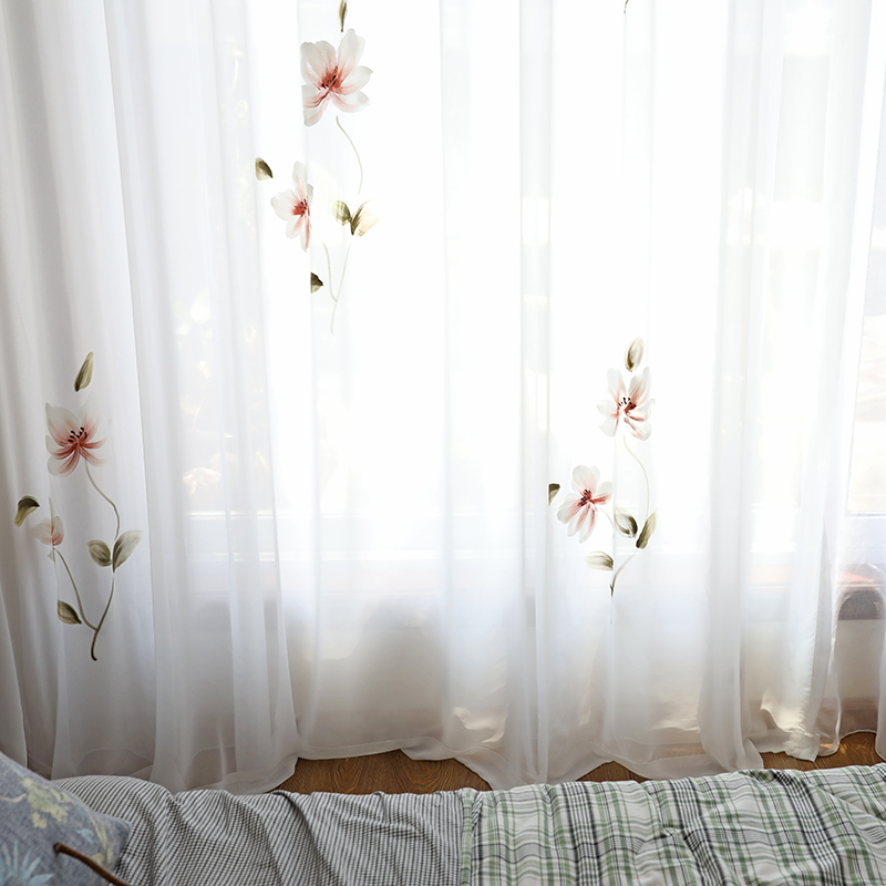 Chicity Hand Painted lotus Tulle Curtains For Living room Soft France painting style tulle for bedroom and kitchen Customized in Curtains from Home Garden