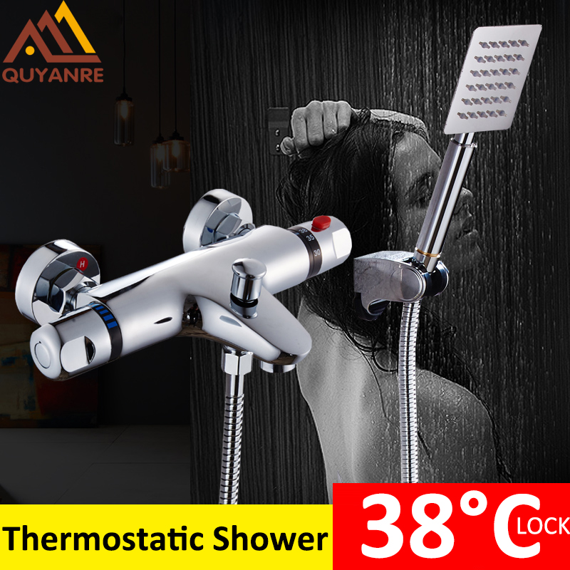 Quyanre Thermostatic Shower Faucets Set Chrome Thermostatic Mixing Valve Bath Shower Set Thermostatic Mixer Tap Wall Mounted luxury thermostatic shower faucet mixer water tap dual handle polished chrome thermostatic mixing valve torneira de parede tr511