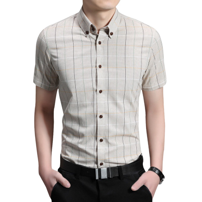 NIBESSER Summer Mens Casual Shirts 2019 Trendy Cotton Slim Fit Short Sleeve Paid Button Tees Formal Business Male Dress Shirts