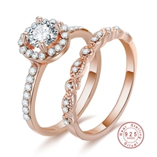 Luxury 925 Sterling Silver Rings for Women 2 Pcs/Set Crystal Ring Jewelry Rose Gold Color Wedding Rings Engagement Wedding Ring