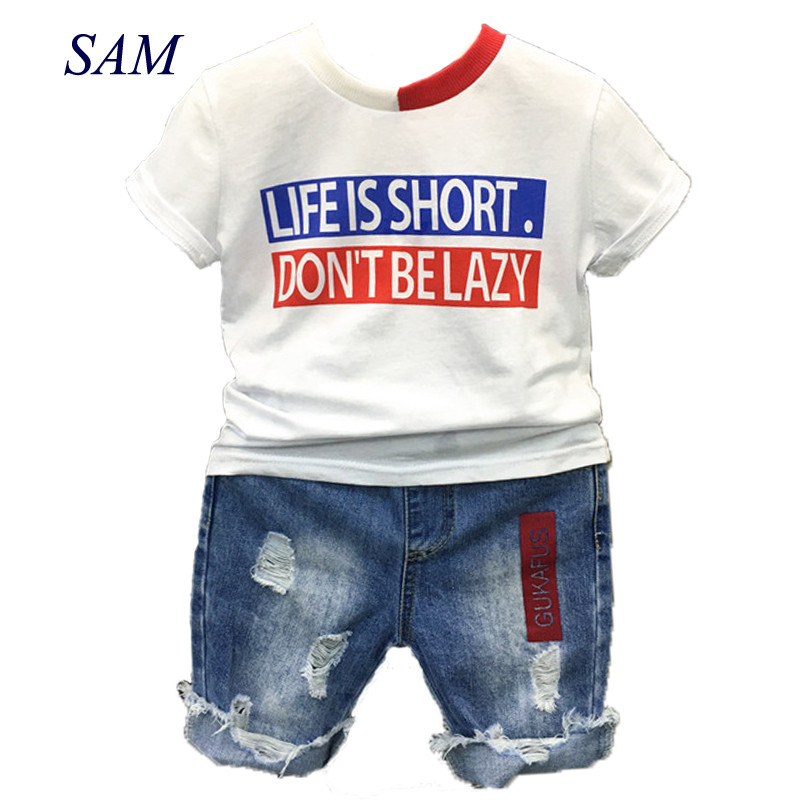 2018 boys fashion clothing sets summer children's short letter shirt + cowboy pants 2 pcs suit kids colorblock collar clothes letter print colorblock tee