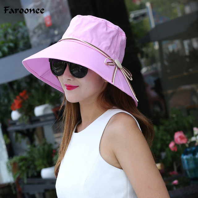 Faroonee Sun Hat Wide Brim for Women Solid Color Canvas Sun Hats Cap  ultraviolet-proof 23bb204ed5