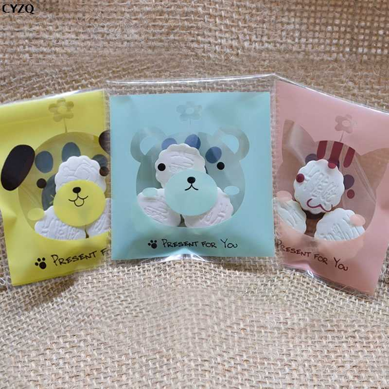 100pcs/lot 7X7cm OPP Cute Small Bear Plastic Pack Candy Cookie Packaging Bags Cupcake Wrapper Self Adhesive Gift Bag