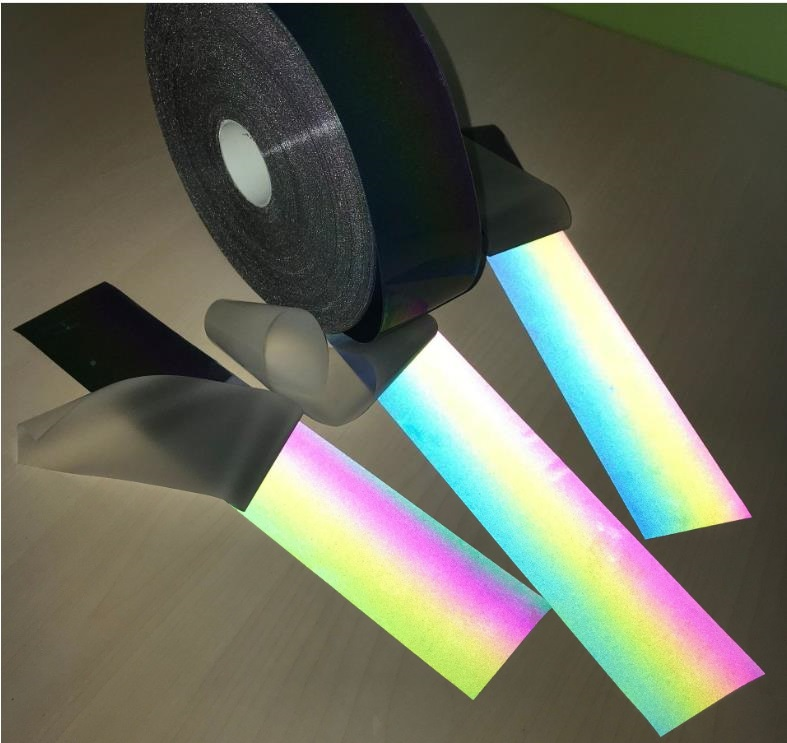 1 Meter Length Reflective Iridescence Colorful Strip Night Reflective Rainbow Effect Warning Tape Hot Ironed On The Clothing