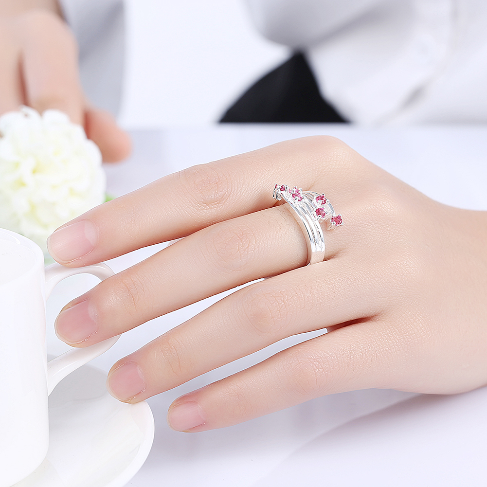 Exquisite Peculiar Shaped Garnet Crystal Zircon Ring 925 Sterling ...