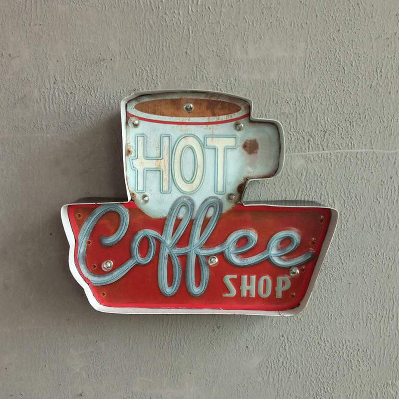 Hot Coffee LED Signs Vintage Cafe Shop Decorative Neon Light Home Decor Metal Plate For Wall retro Coffee Plaque 35.5X5X29.5CM-in Plaques u0026 Signs from Home ... & Hot Coffee LED Signs Vintage Cafe Shop Decorative Neon Light Home ...