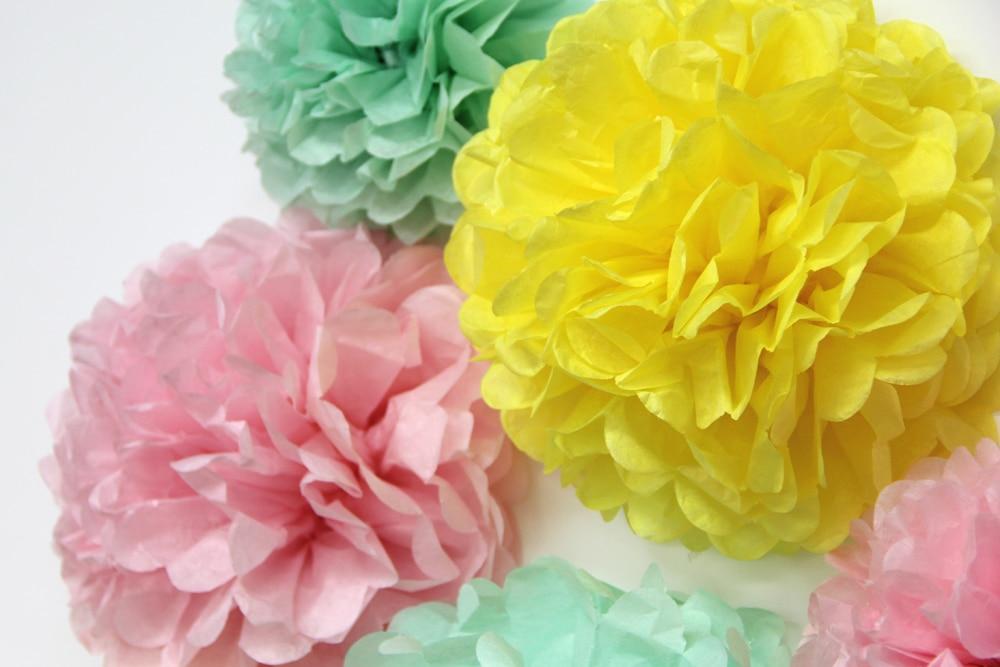6pcs (Yellow,Pink,Mint) Tissue Paper Pom Poms Wedding Decorations ...