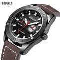 Baogela Hombres Ronda Dial Negro reloj de Cuero de Moda Un \ nalogue Relojes Cronógrafo de Cuarzo Calendario Luminoso Reloj Militar para Hombre