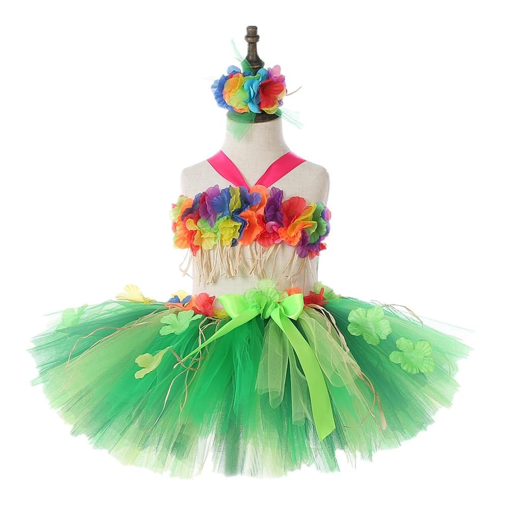 Hawaii Green Flower Fringes Tulle Skirt Girls Solid Mini Skirt for Girls Princess Tassel Party Skirt Baby Photography Costumes (2)