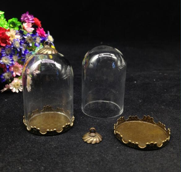 300sets/lot 38*25mm mix color bell jars shape glass globe crown base cap diy glass vial pendant handmade empty crystal finding