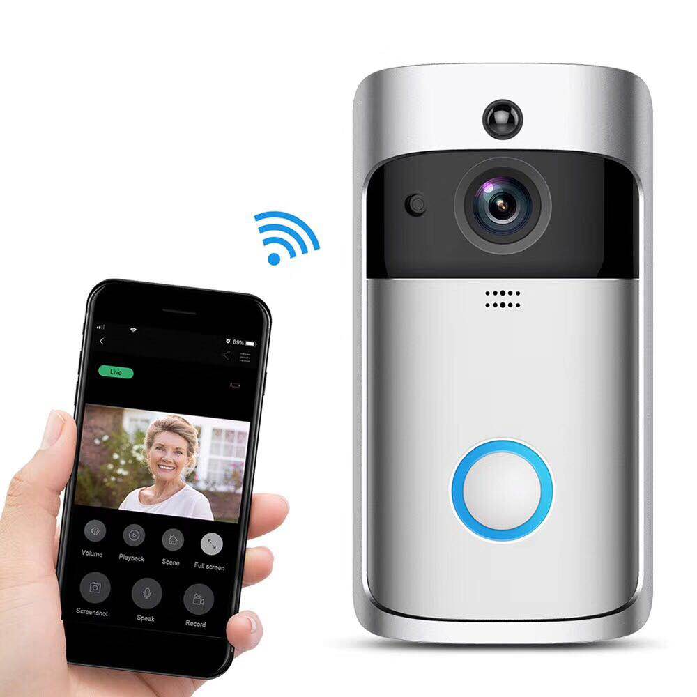 Smart Doorbell V5 Wireless WiFi Smart Doorbell IR Video Visual Ring Camera Intercom Home Security With Chime Night Vision