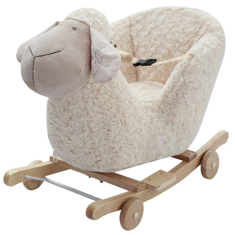 Cadeau d'anniversaire d'un an cheval à bascule en bois avec brillance et musique mignon fauteuil à bascule bébé outil de couchage 12 mois jouets pour enfants