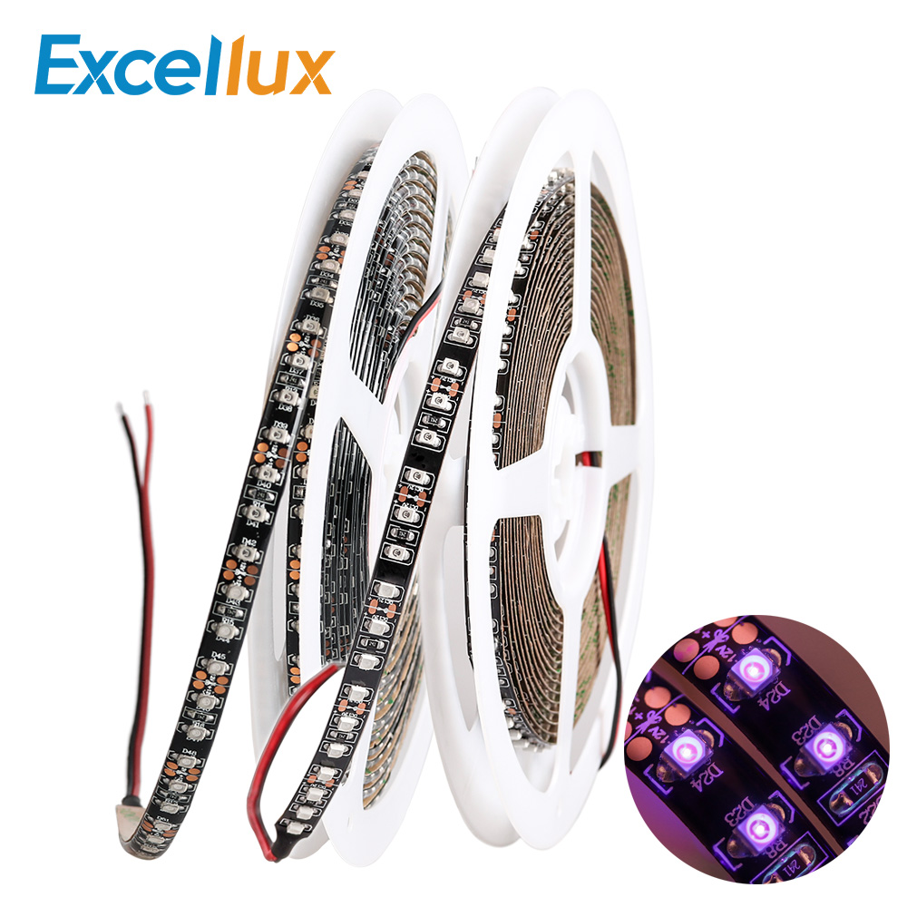 12V <font><b>UV</b></font> LED Strip Light smd 3528 Black <font><b>PCB</b></font> Flexible LED light 120leds/m Ultraviolet Ray Tape <font><b>Lamp</b></font> 395-405nm Led Diode Tape image