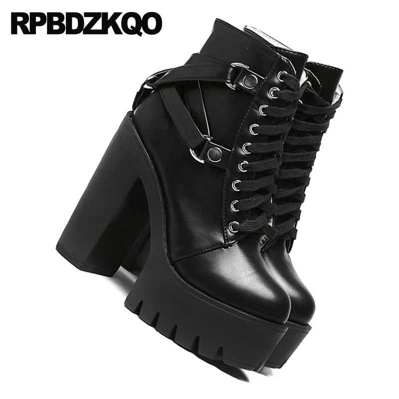 2dde3e0b34c ... Shoes Military Autumn Combat High Heel Booties Waterproof Chunky Biker  Gothic Platform Boots Punk Women Black. RELATED PRODUCTS. Lace Up ...