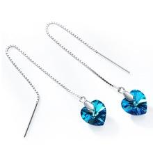 hot deal buy charm 925 sterling silver pure swarovski element crystal heart drop earrings fashion design earrings for women wild fine jewelry