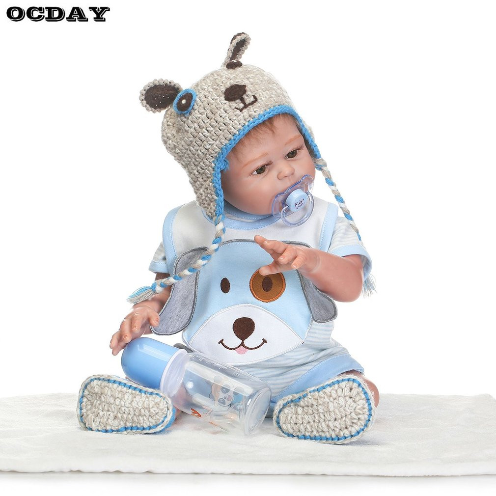 18 Inch Kawaii Reborn Baby Dolls DIY Toys Full Body Silicone Lifelike Babies Doll Touch Soft Early Education Toys baby born Gift kawaii baby dolls
