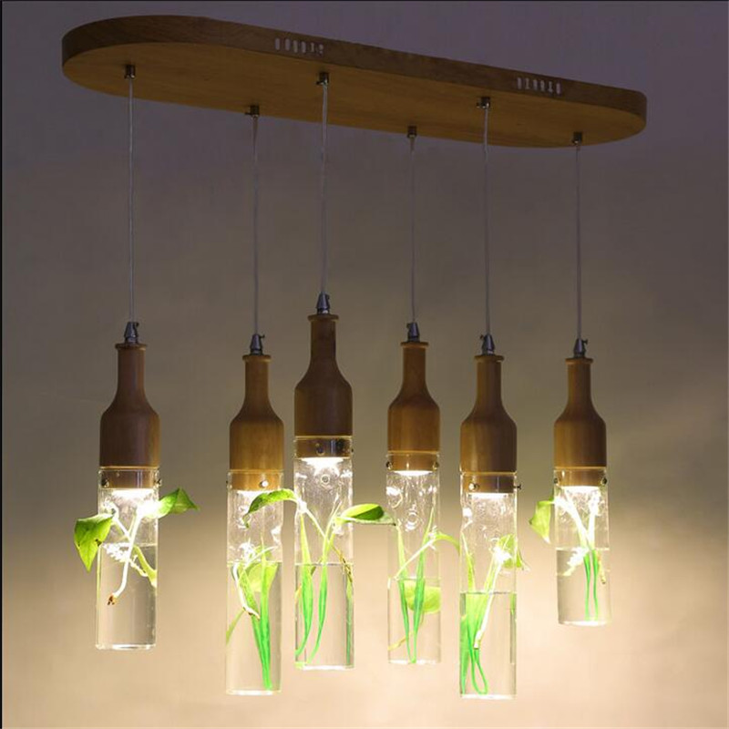Modern Europe Creative Glass Wood Led Gu10 Pendant Light for Dining Room Restaurant Bar 1/3/6 Heads 1556