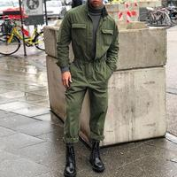 Men's One piece overalls Suit Men Stand Collar Solid Long Sleeve Fashion Clothes Men Spring And Autumn High Quality Suit