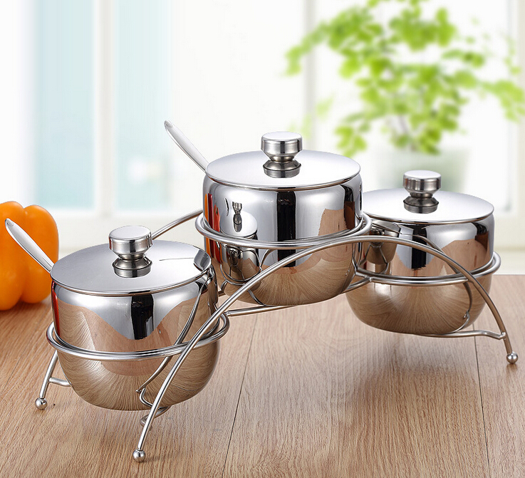 Sugar Bowl with Lid and Spoon Stainless Steel Condiment Server Three A Set Tea Coffee Sugar Storage Jars Fashion Seasoning Pot