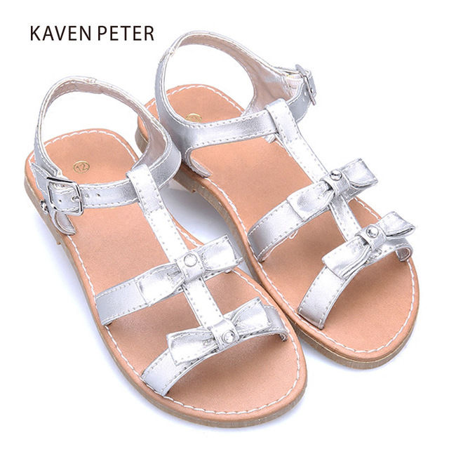 853dedba6af434 Summer Gladiator sandals girls Sandals flip flops with bowties flat shoes  Shiny pu leather bling shoes child orthopedic shoes