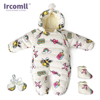Ircomll Cold Winter Graffiti Hooded Thick Rompers With Gloves Boots Fleece Lining Baby Jumpsuit Kids Down Cotton Overalls