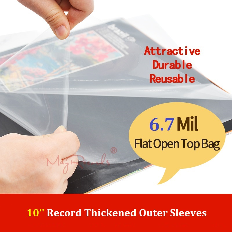 25 Flat Open Top Bag 6.7Mil Strong Cover Plastic Vinyl Record Outer Sleeves For 10'' Record Cover