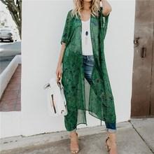 купить Summer Leaf Printed Long Shirts Kimono Cardigan Casual Chiffon Beach Long Mesh Blusas Loose Women Kimono Printing Green Blouses дешево