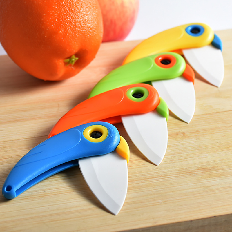 Peeler Mini Bird Cut Slice Picnic Lunch Fruit Cutlery Pocket Pare Peel Bag Box Vegetable Kitchen Blade Ceramic Fold Knife Cutter High Quality Office & School Supplies Cutting Supplies
