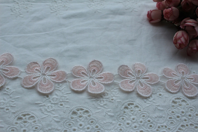 2 yards lace trim, pink daisy Trim Lace Fabric, embroidered lace trim