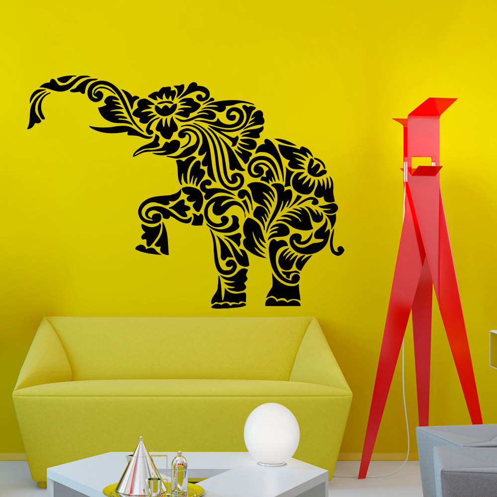 Online Shop Tribal Bohemian Elephant Huge Silhouette Wall Decals ...
