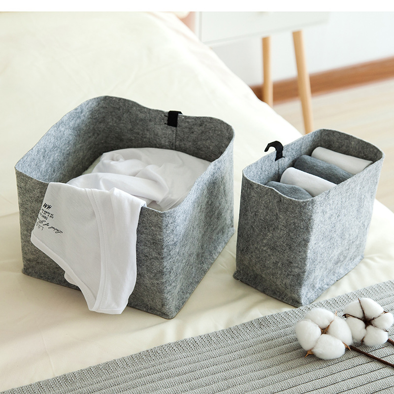 AIYOWEI@YW Felt Cloth Folding Desktop Organizer Makeup Clothes Neatening Storage Basket Dirty Clothes Holder Cosmetic Toy S184