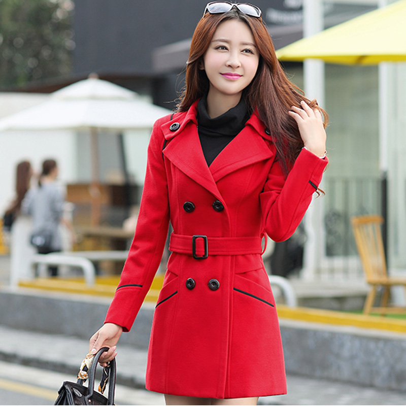 Women Double Breasted Woolen Jacket 2018 Autumn Winter Slim New Fashion Mid Long Woolen Coats Female Large size Outerwear NO388