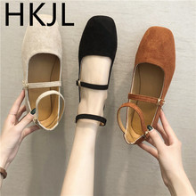 HKJL 2019 spring new single shoes gentle fairy wind flat bottom mouth retro wild student ballet A936