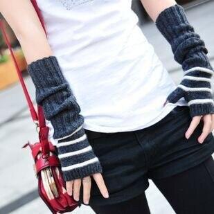 Striped Women's Knitted Gloves Thick Long Length Wrist Arm Warmer Winter Fingerless Mitten Dropshipping