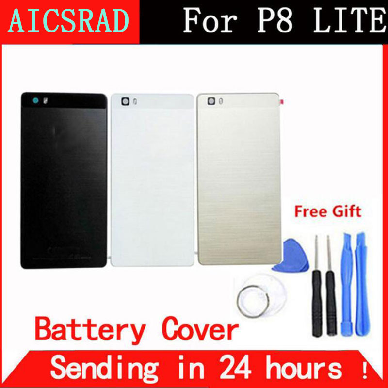 AICSRAD For HUAWEI P8 Lite Battery Back Cover Door case For HUAWEI P8 Lite housing replacement + Back Camera Glass Lens Case