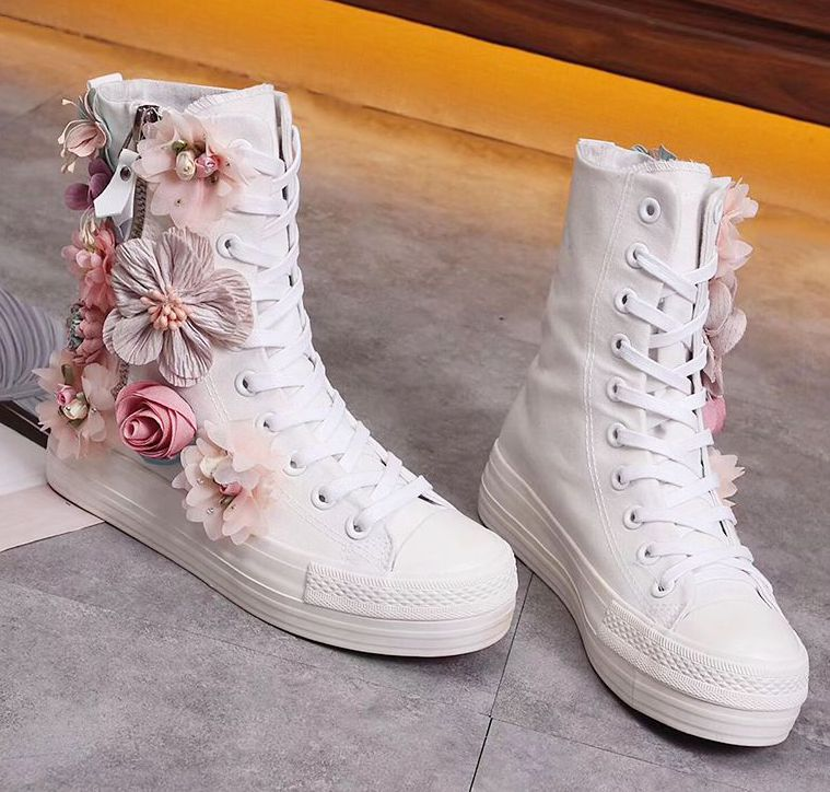 2018 new design canvas shoes woman white lace up ladies NI009 handmade flowers luxury high canvas wedding party casual shoe stylish tiny flowers print wedding casual party white tie for men